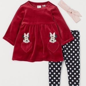 H&M Baby Girl Minnie Mouse Dress and Legging Set